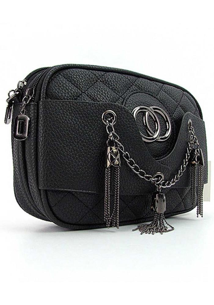 Черная женская сумочка-клатч с двумя отделениями 835