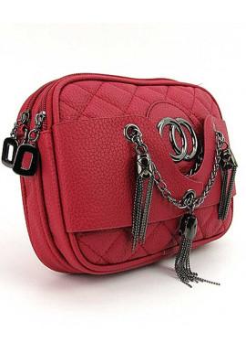 Фото Красная женская сумочка-клатч с двумя отделениями 835