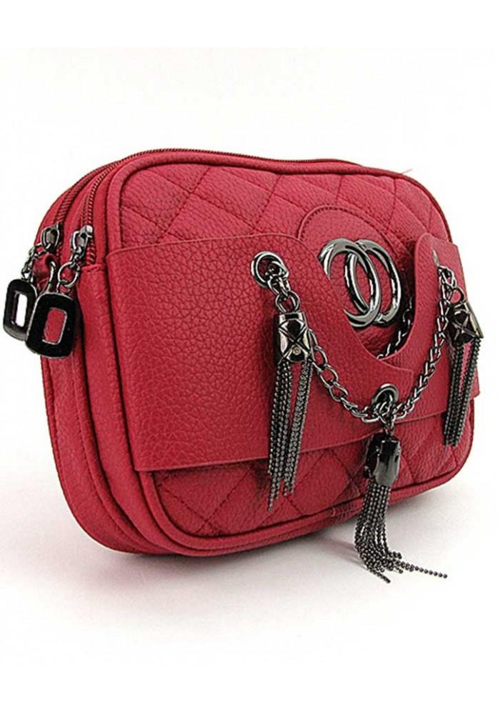 Красная женская сумочка-клатч с двумя отделениями 835
