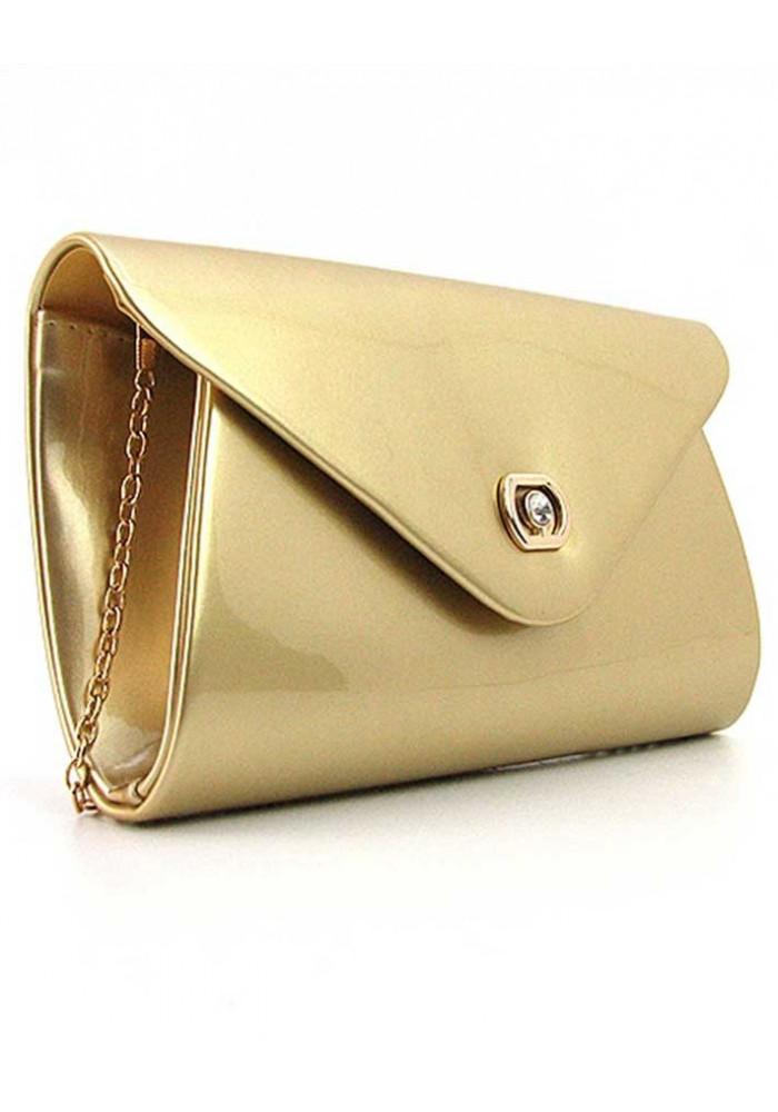 Золотой лаковый женский клатч 102817