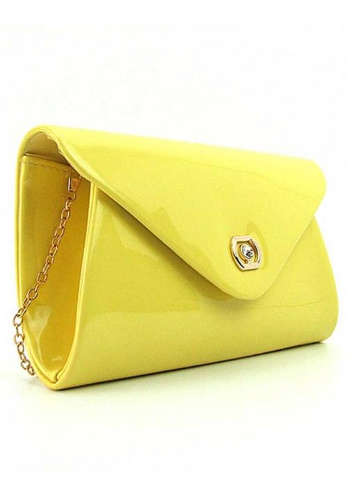 Желтый лаковый женский клатч 102817