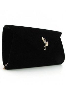 Фото Черный бархатный женский клатч-конверт 103170