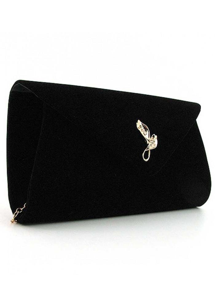 Черный бархатный женский клатч-конверт 103170