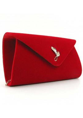 Фото Красный бархатный женский клатч-конверт 103170