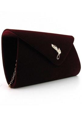 Фото Бордовый бархатный женский клатч-конверт 103170