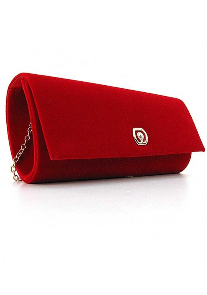 Фото Красный бархатный женский клатч 103205