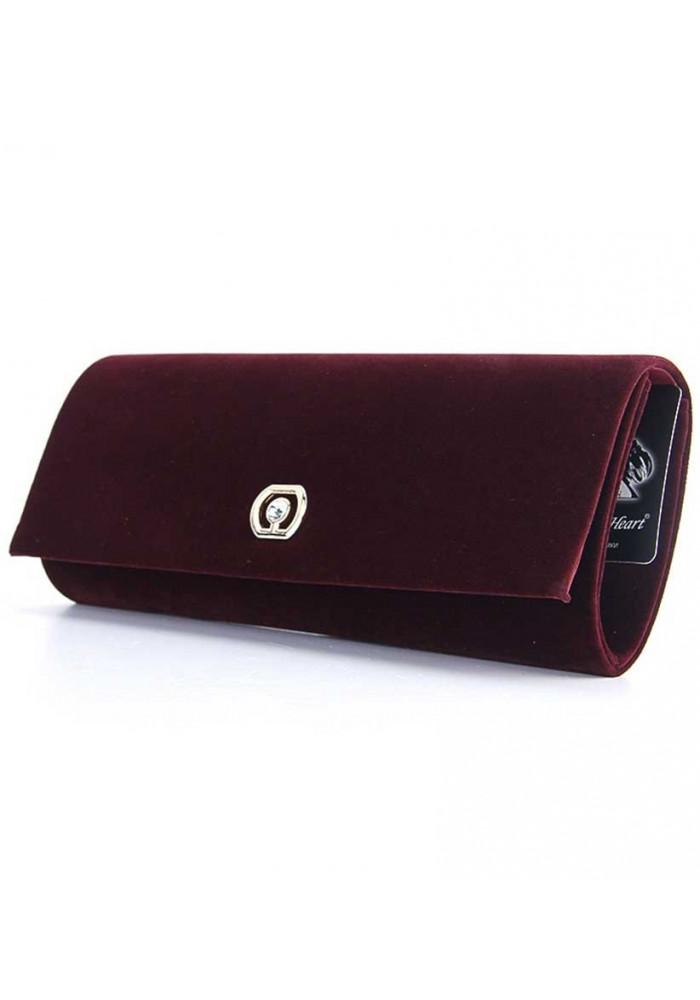 Бордовый бархатный женский клатч 103205
