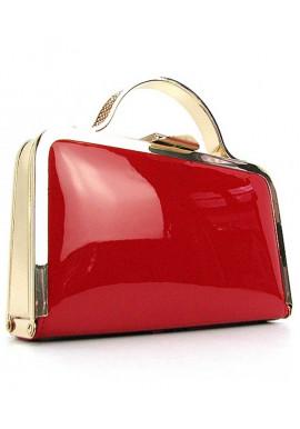 Фото Красный лаковый женский клатч-бокс 010-1