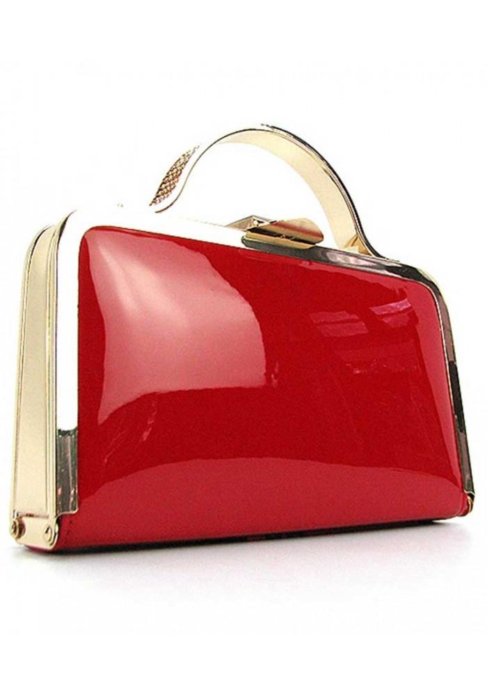Красный лаковый женский клатч-бокс 010-1