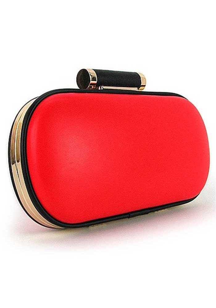 Овальный красный женский клатч-бокс 975