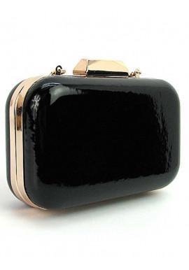 Фото Прямоугольный черный лаковый женский клатч-бокс 9021