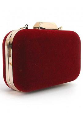 Фото Бордовый бархатный женский клатч-бокс 9021-1