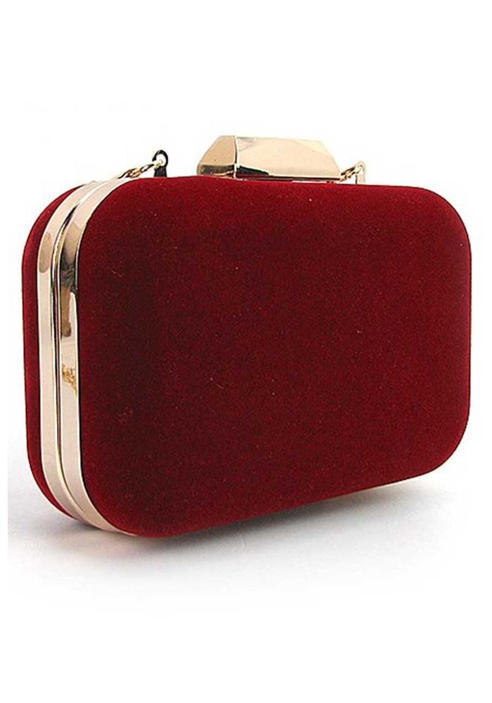Бордовый бархатный женский клатч-бокс 9021-1
