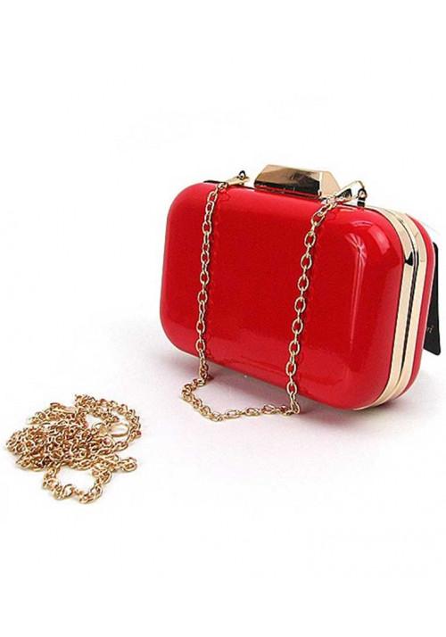 Прямоугольный красный лаковый женский клатч-бокс 9021