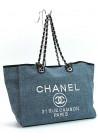 Большая синяя женская сумка из текстиля 93786