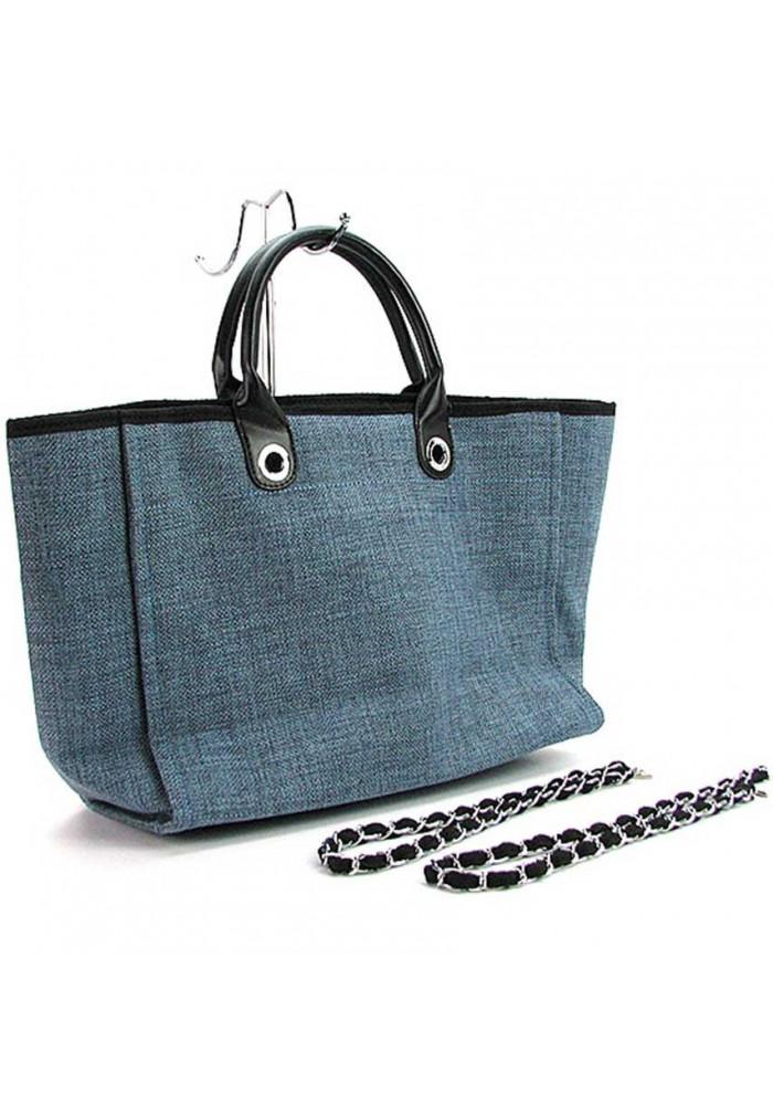 ad6dfa0a179c Большая синяя женская сумка из текстиля 93786, фото №3 - интернет магазин  stunner.