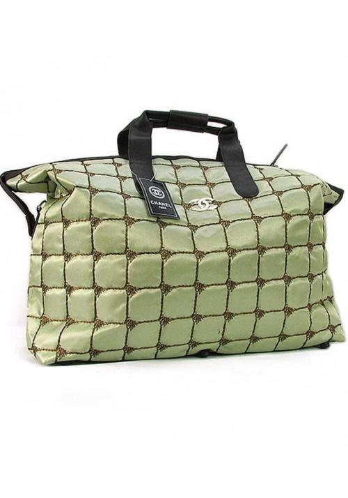 Большая зеленая женская сумка из ткани 5338