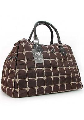 Фото Дорожная коричневая женская сумка из ткани 5340