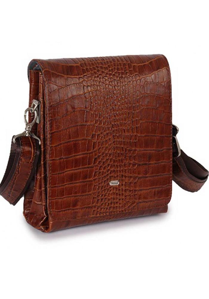 Кожаная мужская сумка через плечо Desisan 1321 коричневый кроко