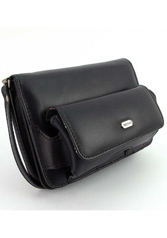 Маленькая черная  мужская сумка на пояс Desisan 3002