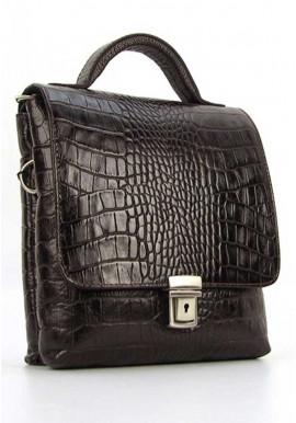 Фото Мужская кожаная сумка планшет с ручкой Desisan 1340 коричневая кроко