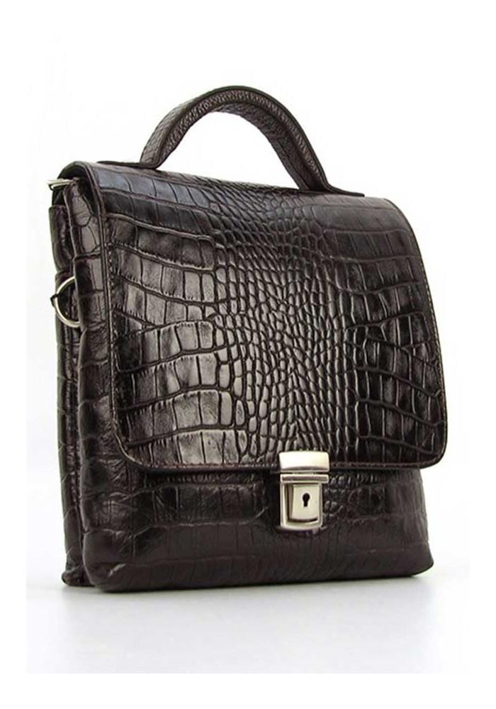 Мужская кожаная сумка планшет с ручкой Desisan 1340 коричневая кроко