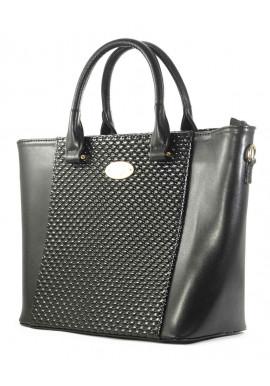 Фото Женская черная сумка с лаковой вставкой Betty Pretty
