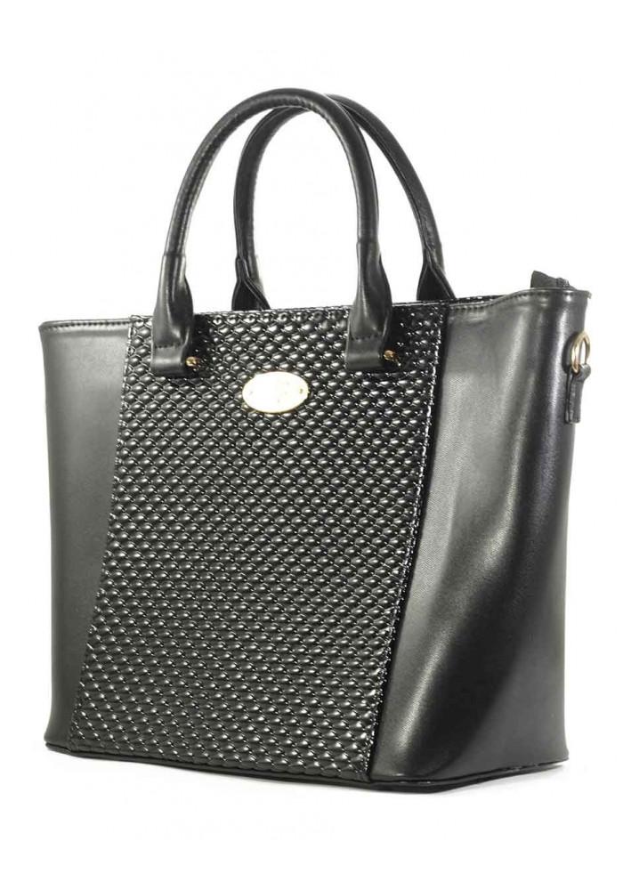 Женская черная сумка с лаковой вставкой Betty Pretty