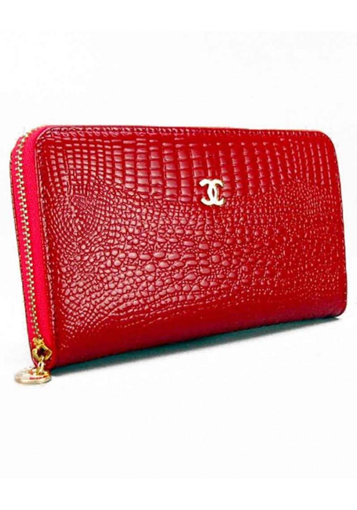 Лаковый красный женский кошелек 9046