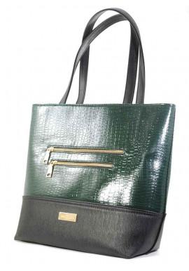Фото Зеленая лаковая женская сумка с черной вставкой Betty Pretty