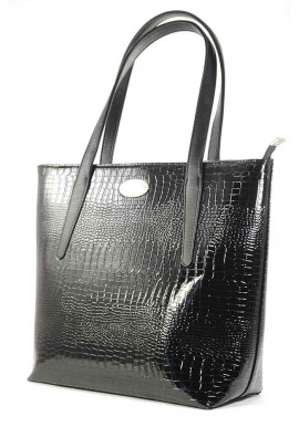 Фото Черная лаковая женская сумка Betty Pretty с узким дном