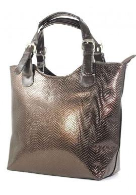 Фото Коричневая лаковая женская сумка шопер Betty Pretty