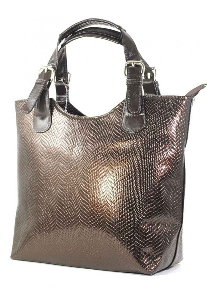 Коричневая лаковая женская сумка шопер Betty Pretty