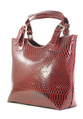 Фото Бордовая лаковая женская сумка шопер Betty Pretty