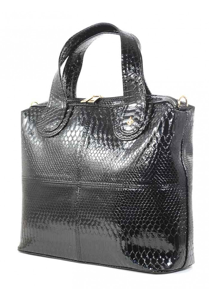 Черный лаковый женский портфель Betty Pretty