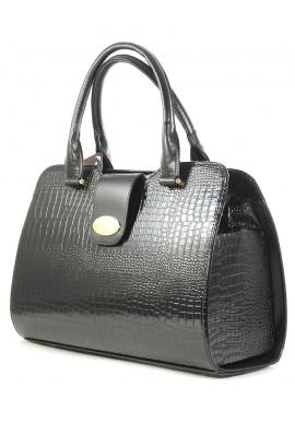 Фото Черная лаковая женская сумка с хлястиком Betty Pretty