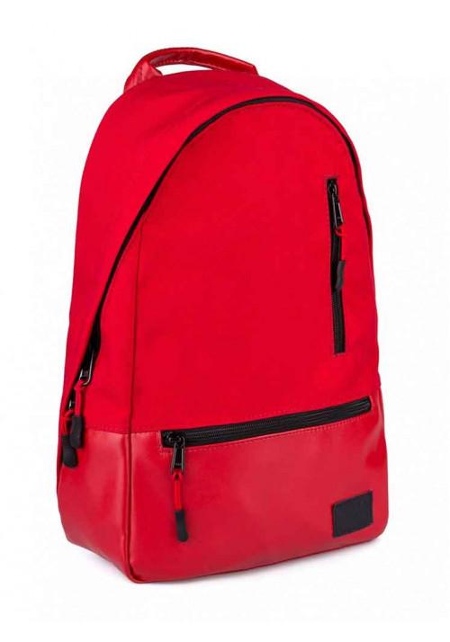 Рюкзак красный из кордура и экокожи ROPER BASIC RED