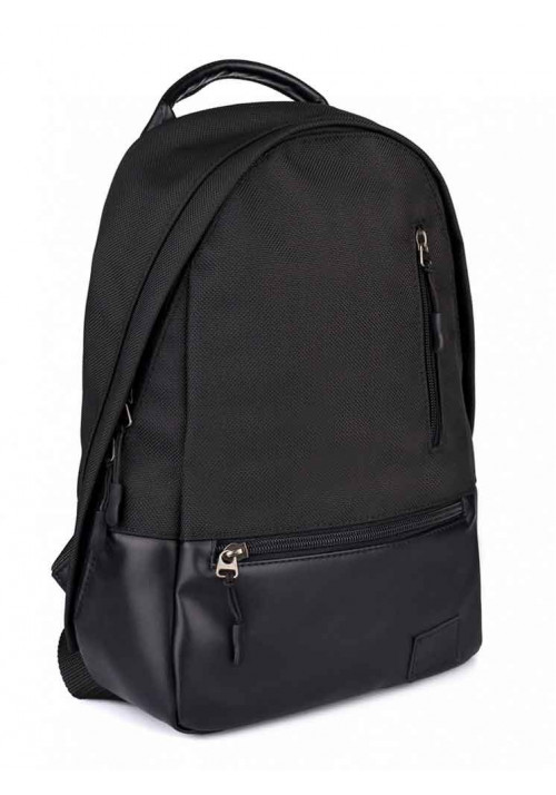 Рюкзак черный из кордура и экокожи ROPER BASIC RED