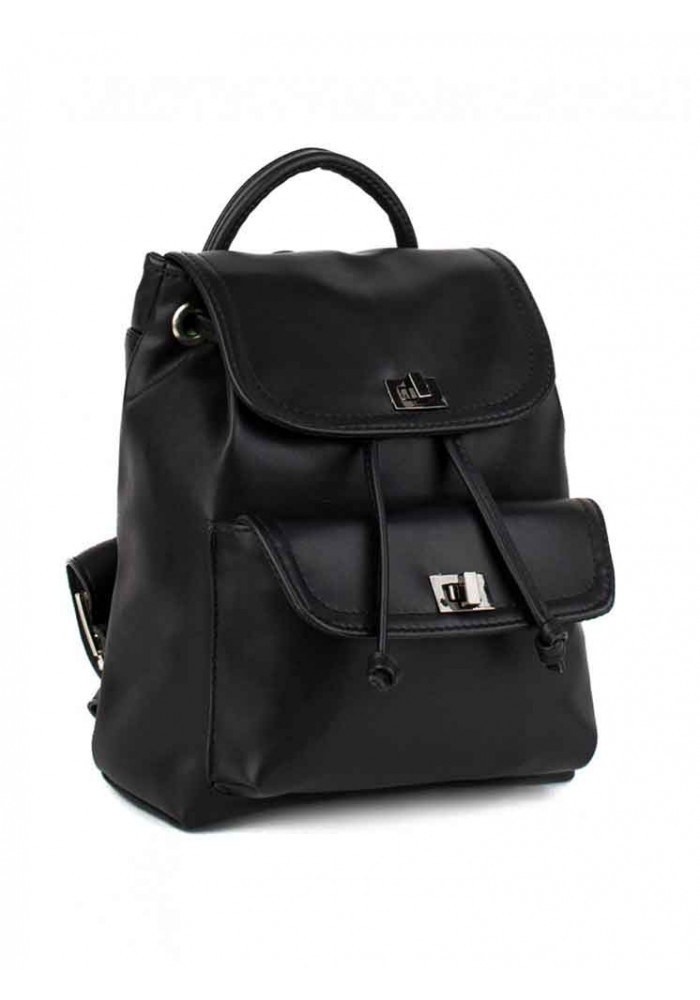 Черный женский рюкзак с накладным карманом BBAG LOVER BLACK