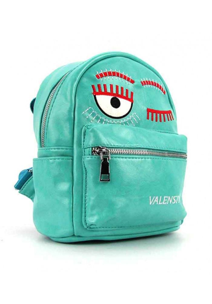 Бирюзовый женский рюкзак из экокожи Valensiy 656