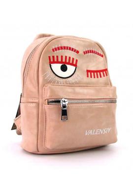Фото Пудровый женский рюкзак из экокожи Valensiy 656