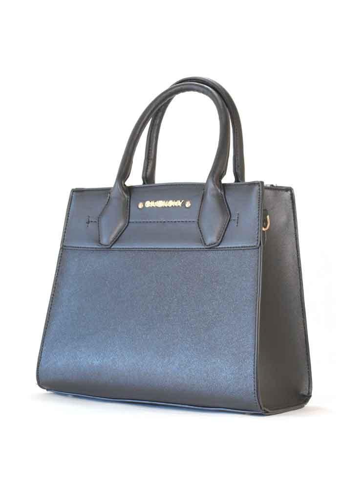 Черная женская сумка с черной вставкой