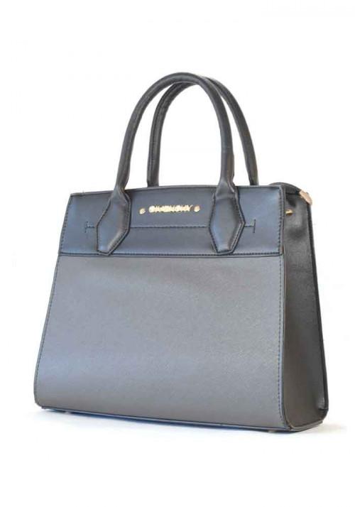 Черная женская сумка с серой вставкой