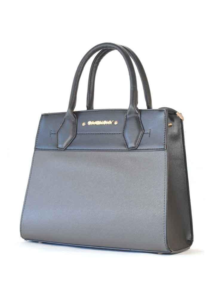 Черная женская сумка с серой вставкой 01-GREY