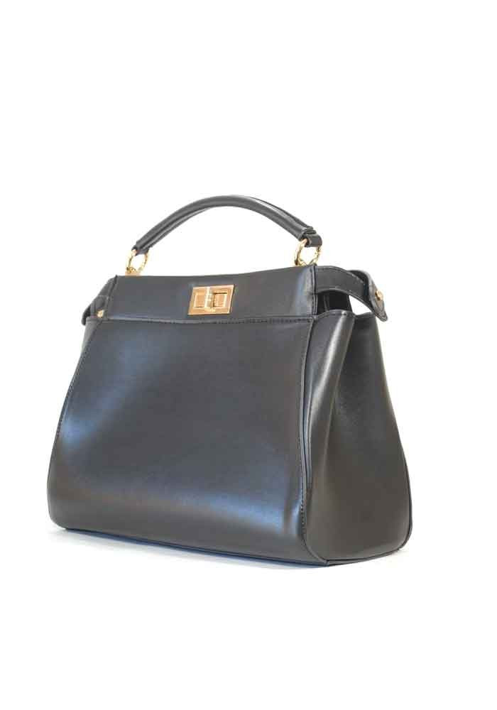 Черная женская сумка на 2 отдела 05-BLACK