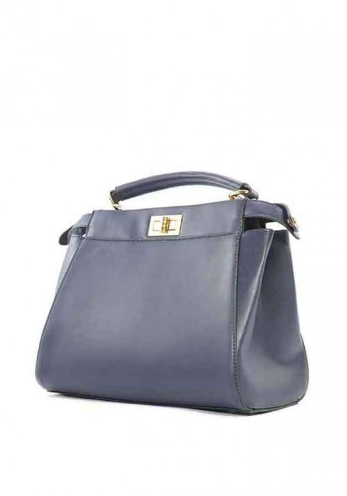 Синяя женская сумка на 2 отдела