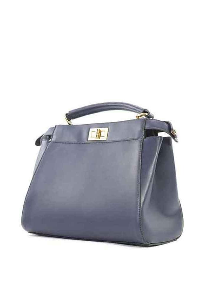 Синяя женская сумка на 2 отдела 05-BLUE