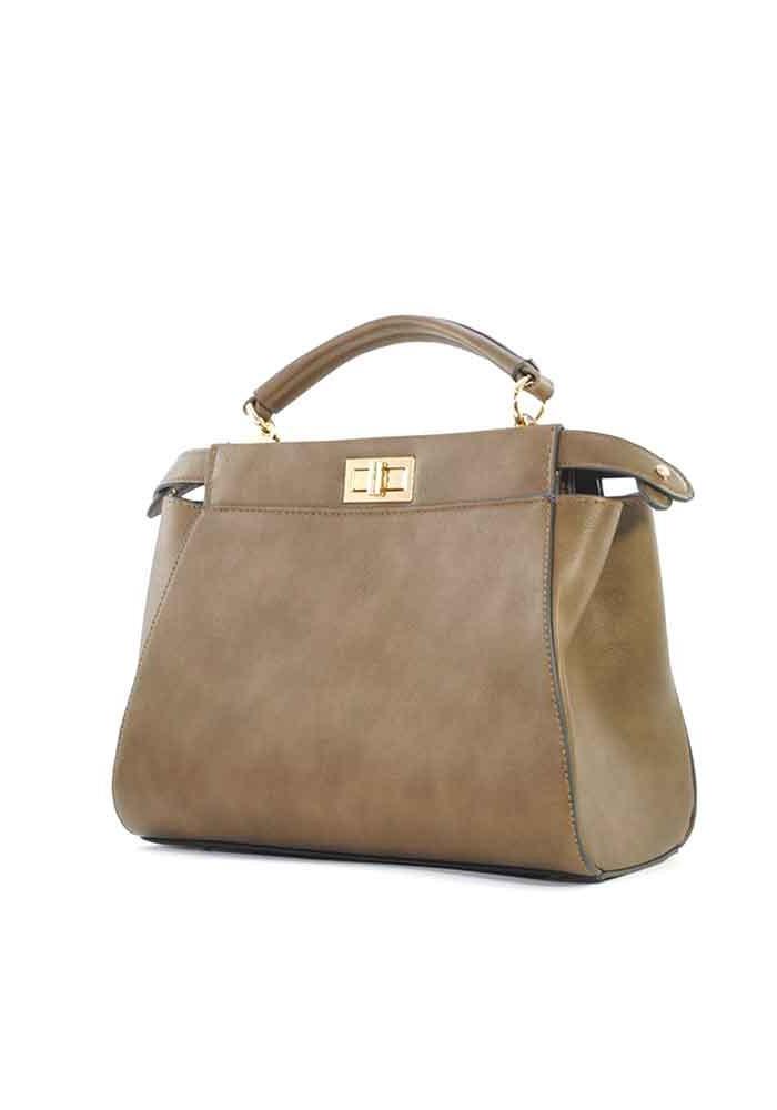 Горчичная женская сумка на 2 отдела