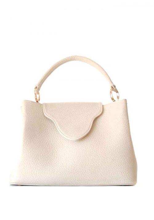 Оригинальная бежевая женская сумка мягкой формы