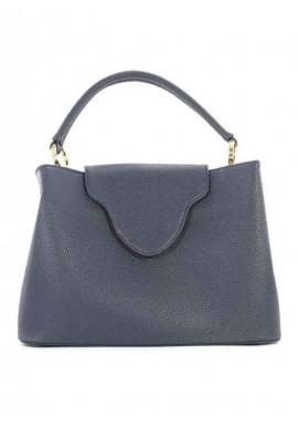 Оригинальная синяя женская сумка мягкой формы 08-BLUE